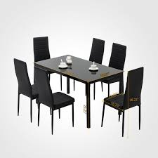 7 Pieces Dining Set Glass Table 6 Leather Chairs Kitchen Dining Room