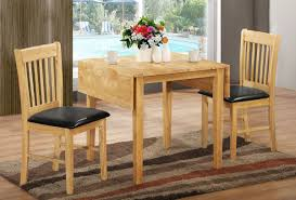 dining table set with leaf. Double Drop Leaf Table In Rustic Style Two Dining Chairs With Black Leather Seating Simple Set C