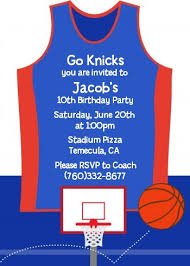 Basketball Jersey Blue And Red Birthday Party Invitations Candles