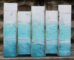 Ombre Sea Scape Original Plank Painting Wall Art for the Beach House /  Nautical Artwork on