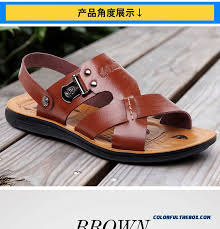 new england style of men s leather sandals summer open toe beach shoes detail images