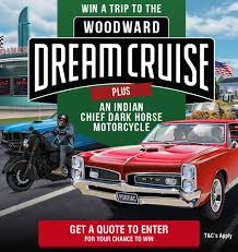 win a trip to the woodward dream cruise plus an indian chief dark horse motorcycle