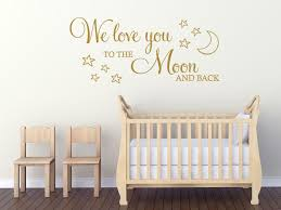 childs wall quote we love you to the moon and back wall art sticker decal on love you to the moon and back wall art uk with childs wall quote we love you to the moon and back wall art sticker