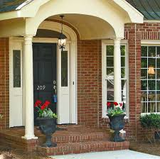 yellow brick house red door. Front Door Colors For Red Brick House With Black Shutters Great Idea Using The Urn Flower Pots At Entry Home Staging Why To Create Curb Appeal Yellow