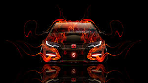 honda civic type r front fire car