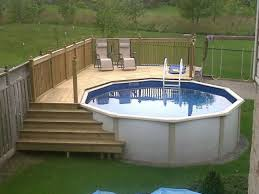 above ground swimming pool designs. Best White Walk In Steps With Round Above Ground Swimming Pool Design And Laminate Deck Ideas Designs