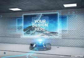 Hoarding Design Templates Holographic Billboard Screen Projector Mockup Buy This Stock