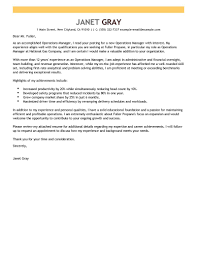 Cover Letter For Operations Manager With No Experience