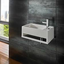 white stone resin square wall mounted basin