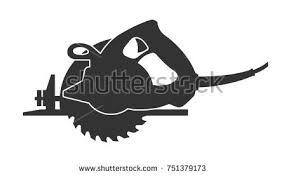 hand saw silhouette. circular saw vector flat illustration on white background hand silhouette