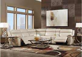 leather reclining sectional. Fine Leather Martino Beige 6 Pc Leather Power Reclining Sectional  Sectionals  Beige To