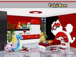 A Pokemon themed lively kid's room, which incorporates playful ...