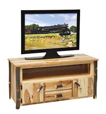 Amish Rustic Hickory 48 Inch Wide TV Stand With Two Doors And Drawers  Custom Sizes Optional Tv Stand E82