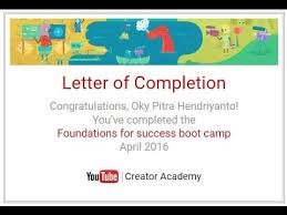 Youtube Creator Academy Certificate Of Completion Boot Camp April