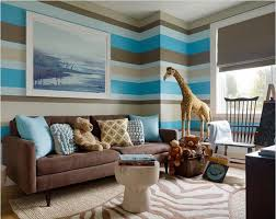 wall paint ideas for living roomCute Chocolate Color Accent On Blue Striped Walpapar Front Big