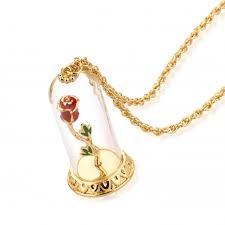 disney beauty the beast gold plated enchanted rose in glass bell jar necklace