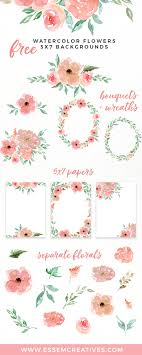 free watercolor flowers clipart fl wreaths 5x7 borders