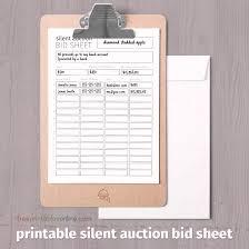 Black And White Printable Silent Auction Bid Sheet Free