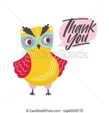 Thank You Cursive Font Cute Owl Saying Thank You Word Funny Owlet And Gratitude Phrase Written With Elegant Cursive Font Inside Speech Bubble Polite Forest Bird Childish