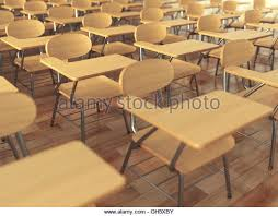 classroom chair back. school classroom with empty chairs and blackboard. back to concept. 3d illustration chair