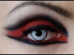 red and black makeup tutorial double eyeliner goth cyber makeup v