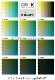 Cmyk Color Swatch Chart Cyan And Yellow