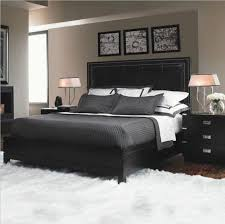 outstanding ikea bedroom furniture design with black leather headboard bed along dark gray covered bedding and cute pillow plus two black wood drawer and bedroom furniture black and white