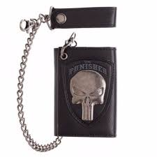 marvel the punisher skull logo wallet with chain by bioworld for