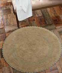 3 of 4 bath rug cotton 36 inch round reversible beige crochet lace border washable