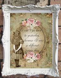 alice in wonderland altered art illustration and quote print shabby chic wall decor vintage style alice wall art altered book illustration  on alice in wonderland wall art quotes with alice in wonderland quote art print alice in wonderland decoration