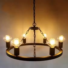 industrial vintage 6 light chandelier 24 4 w in open bulb style black