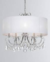 at neiman marcus othello 5 light clear crystal polished chrome chandelier with drum shade