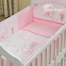 pink elephant and rabbit print piece crib bedding sets boutique gray 13pcs
