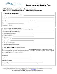 Tenant Employment Verification Form