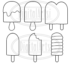 popsicle clipart black and white.  White Kawaii Popsicle Clipart With Black And White A