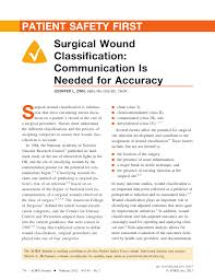 Cdc Wound Classification Chart Pdf Surgical Wound Classification Communication Is Needed
