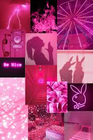 Pink neon wall collage kit wall collage ...