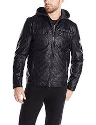 Kenneth Cole REACTION Men's Quilted Faux-Leather Moto Jacket With ... & Kenneth Cole REACTION Men's Quilted Faux-Leather Moto Jacket With  Hood,Black,Small Adamdwight.com