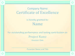 Certificate Of Excellence Template Word Award Certificate Of Excellence Template Employee 70
