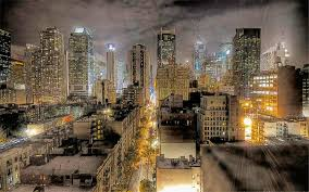 new york city at night wide by t douglas painting