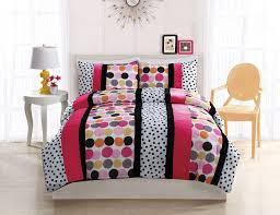 black white hot pink polka dot stripe teen girl bedding full comforter set