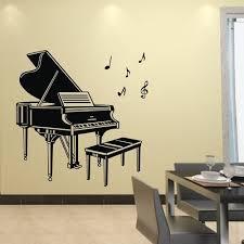 tgsik diy large grand piano wall stickers decals with music notes black vinyl removable home decor art for teen boys girls kids bedroom living room playroom  on grand piano wall art with tgsik diy large grand piano wall stickers decals with music notes