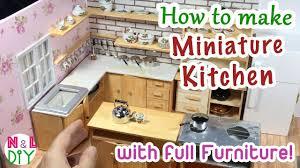 How to make miniature furniture Doll Diy Miniature Kitchen Room For Dollhouse How To Make Miniature Kitchen With Full Furniture Youtube Diy Miniature Kitchen Room For Dollhouse How To Make Miniature