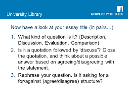 how to research for your essay rachel haworth smlc rachel myers university library now have a look at your essay title in pairs 1