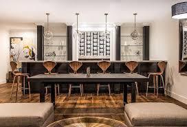 wet bar lighting. Basement Black Wet Bar With Glass Shelves Lighting