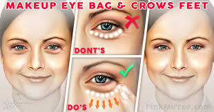 how to makeup conceal under eye bags crows feet