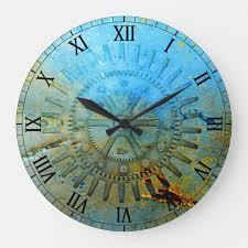 aqua steampunk gears wall clock