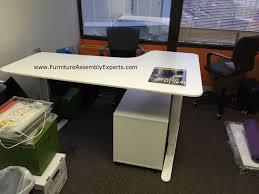 assembled office desks. Ikea Bekant Sit/stand Electric Adjustable Height Desk With Galant File Cabinet Assembled In Arlington Office Desks C