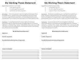 my working thesis statement a good thesis statement will include  1 my working thesis statement