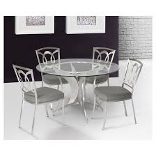Drake Modern Dining Table Stainless Steel/Clear Glass - Armen Living